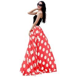 Women's Fashion Chiffon Polka Dot Print High-waist Summer Long Maxi Skirt
