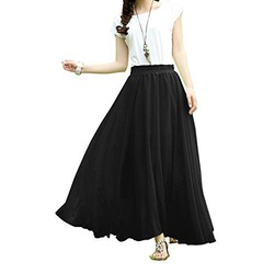 V28 Women Full/ankle Length Elastic Pleated Retro Maxi Chiffon Long Skirt