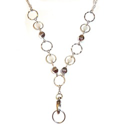 """Chain RINGS Style Women's Fashion Beaded Lanyard or Necklace 34"""" long"""