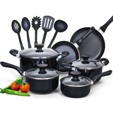 Cook N Home 15 Piece Non Stick Black Soft Handle Cookware Set