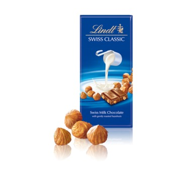 Lindt Swiss Classic Milk Chocolate Bar With Gently Roasted Hazelnuts