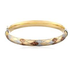 14k gold tricolour quilt bangle