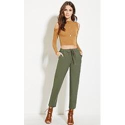 Linen-Blend Drawstring Pants- Forever 21