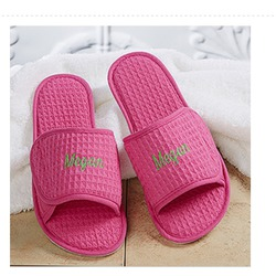 Embroidered waffle weave spa slippers