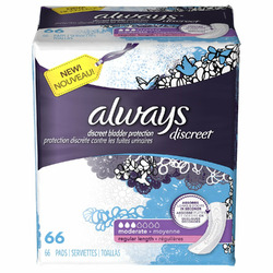 Always Discreet Incontinence Pads, Moderate Regular Length