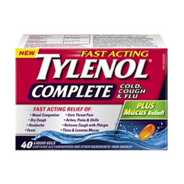 TYLENOL Complete Cold, Cough & Flu Plus Mucus Relief Liquid Gels