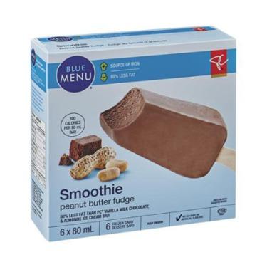 PC Blue Menu Peanut Butter Fudge Smoothie Frozen Dairy Dessert Bars