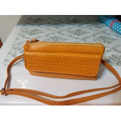 Yahoho Women's Large Capacity Genuine Leather Smartphone Wristlet Clutch with Shoulder Strap Yellow