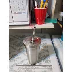 Inspired Living Stainless Steel Tumbler with 2 Straws