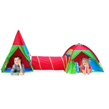 Giga tent action dome and teepee and tunnel play tent set