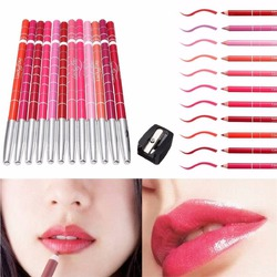 Luckyfine Kit Set of 12pcs Girl's Pro Waterproof Lip Liner Pencil
