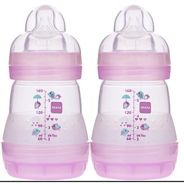 Mam Anti-Colic Bottle Girl, 5 Ounce, Single Pack, Colors May Vary