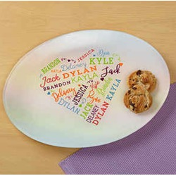 Close to her heart personalized glass platter