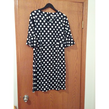 ANGVNS Women's Elegant Spotted Bell Sleeve Shift Causal Dress