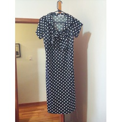 ANGVNS Ladies Women Short Sleeve Dot Slim Fit and Flare A-line Vintage Dress
