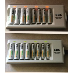 EBL 8 Bay/Slot Smart AA, AAA Ni-MH Ni-CD Rechargeable Battery Charger