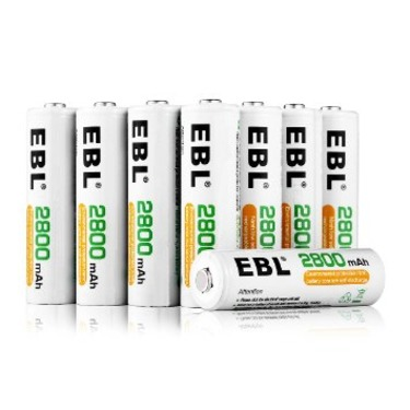EBL Pack of 8 AA 2800mAh Ni-MH Performance Rechargeable Batteries