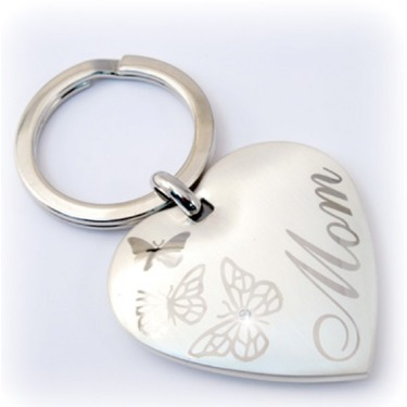 Mom heart butterfly keychain