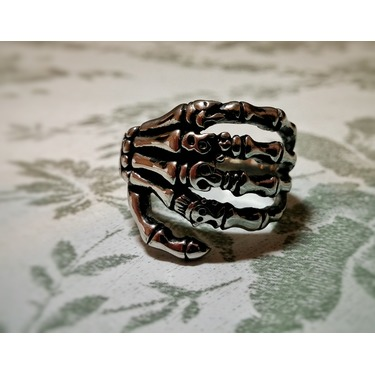 Sirius Men's Stainless Steel Vintage Punk Skeleton Skull Hand Finger Bone Ring