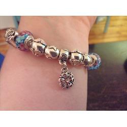 Presentski 925 Sterling Silver Glass Bead Bracelet with Safety Chain