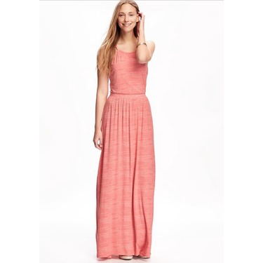 Sleeveless jersey maxi dress in coral print from old navy