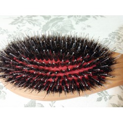 GranNaturals Boar + Nylon Bristle Oval Hair Brush with a Wooden Handle