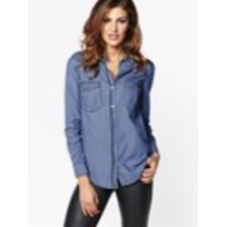 Marble semi fitted denim blouse from Dynamite