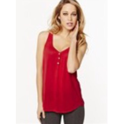 Red V-neck tank with buttons from Dynamite