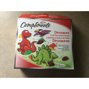 Compliments dinosaurs fruit flavoured snacks