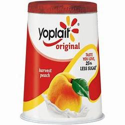 Yoplait source peach yogurt