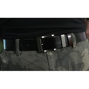 Men's Leather Belt Manual Buckle Belt for Men Reversible Black & Brown