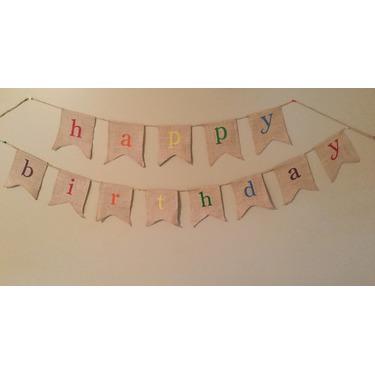 Rustic Burlap Happy Birthday Banner