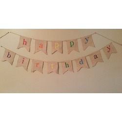 Rustic Burlap Happy Birthday Banner