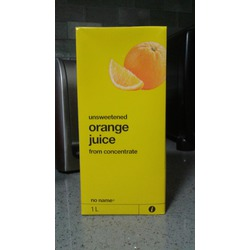 No Name unsweetened orange juice from concentrate