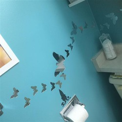 OFKP 25pcs Plastic Vinyl Art Butterfly Decal Mirror Wall Stickers