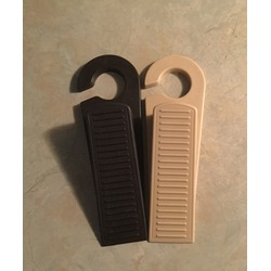 Door Stopper Rubber Stop Wedge with Hook for Home and Office, Camel and Brown, Pack of 2