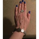 U7 Women Fashion Hand Harness Bracelet Platinum/18K Gold Plated Cuff Bangle With Adjustable Ring