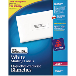Avery Easy Peel White Mailing Labels  (750 labels)