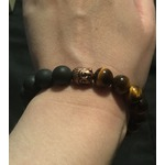 AmorWing 10mm Natural Tiger Eye and Matte Onyx Buddhist Prayer Bead Bracelet Adjustable Size