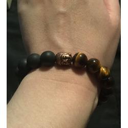 AmorWing 10mm Natural Tiger Eye and Matte Onyx Buddhist Prayer Bead Bracelet Adjustable Size