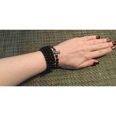 AmorWing Kyanite and Obsidian Energy Wrist Mala Prayer Bracelet,Necklace