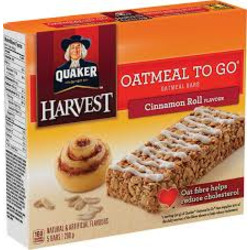 Quaker Oatmeal to Go Bars Cinnamon Roll Flavor