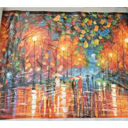 Large 100% hand-paint oil painting modern abstract rainy canvas