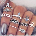 CLYH 10PC/Set Women Punk Vintage Knuckle Rings Tribal Ethnic Hippie Stone Joint Ring Jewelry Set Gift