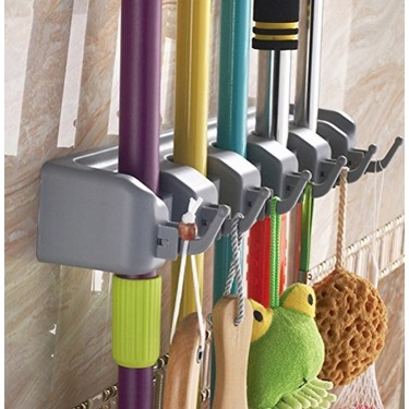Mop and Broom Holder, Arespark Wall Mounted Tool Storage, Rack Storage & Organizer with 5 Ball Slots and 6 Hooks - Gray