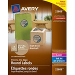 Avery Easy Peel Print-To-The-Edge Kraft Brown Round Labels