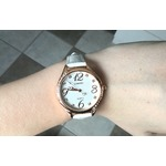 Comtex Women's Watches with Leather Strap Dress Simple Water Resistant Watches White rose gold trim