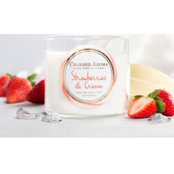 Charmed Aroma 2- Wick Strawberries & Cream candle
