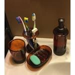 InterDesign Bath Countertop Accessory Set, Soap Dispenser Pump, Toothbrush Holder, Tumbler, Soap Dish - 4 Pieces, Brown