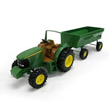 John Deere tractor and hay wagon - toy